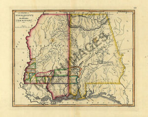 Details about Map of Mississippi and Alabama territory c1810s 16x20