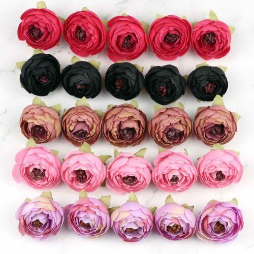 40//80 Artificial Silk Rose// Small Peony Flower Heads Lot Fake Camellia DIY Craft