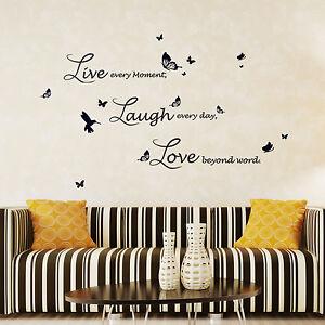 Appris Autocollant Mural Live Laugh Love Quote écriture Lucida Home Deco Papillon-afficher Le Titre D'origine à Tout Prix
