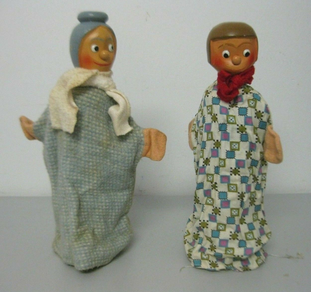 Vintage Mother and Daughter Wooden Head Hand Puppets Set of 2