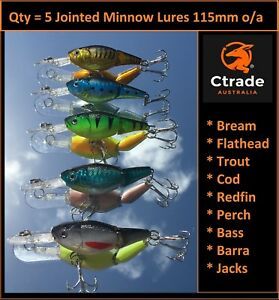 5-x-Minnow-Jointed-Lures-Fishing-Lure-Bream-Flathead-Barra-Trout-Murray-Cod-Lure