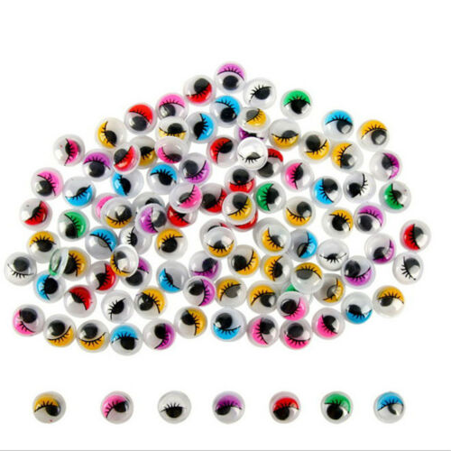 PB Color: Multicolor 100PC Coloured Eyelashes Wiggly Wobbly Googly Eyes Lash