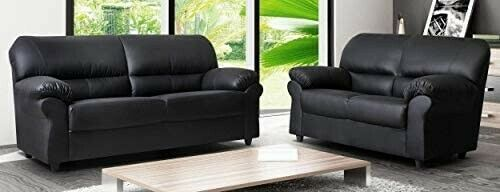BRAND NEW CANDY SOFA SET 3+2 SEATER BlACK FAUX LEATHER