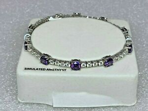 Simulated-Amethyst-w-Cubic-Zirconia-Sterling-Silver-Plated-Bracelet-7-5-034-NWOT