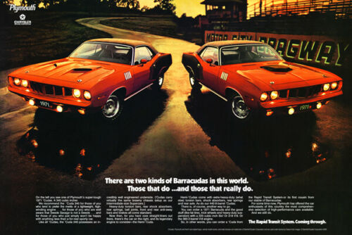"""1971 Plymouth /'Cuda Large Format Ad /""""Two Kinds/"""""""