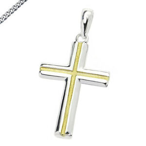 Kreuz Kreuzanhänger 925 Silber Kommunion Konfirmation Neu mit Kette matt poliert