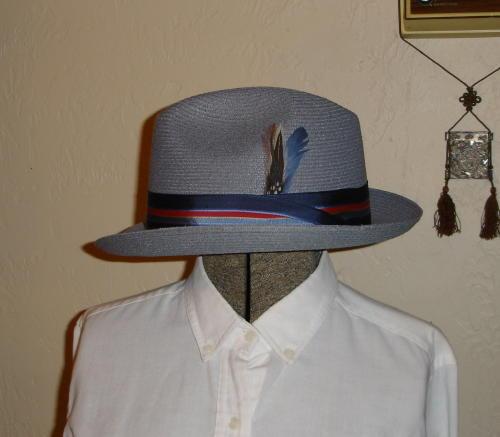 Boys Mens Ladies Straw Hat Saddleseat sz 6-5 8 GREY