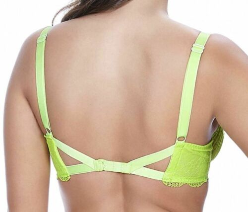 Freya Fancies Bra Green Lace Mesh Underwired Plunge Balcony Lime Punch 1011 New