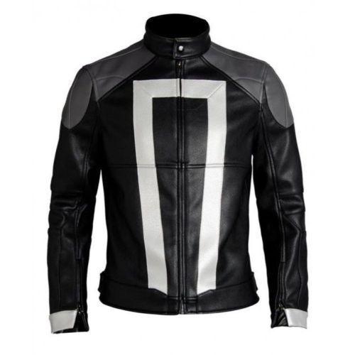Ghost Rider  Chaqueta de Cuero Agentes Shield Temporada 4- Robbie Reyes Biker  tiempo libre