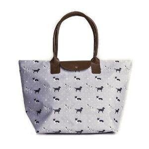 Grey-Shopper-Work-Shoulder-Bag-Tote-Zip-Dog-Collie-Dalmatian-Labrador-Gifts-New