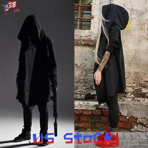 Men-Women-Goth-Gothic-Punk-Hoodie-Jacket-Long-Cardigan-Ninja-Coat-Cloak-Cape-US