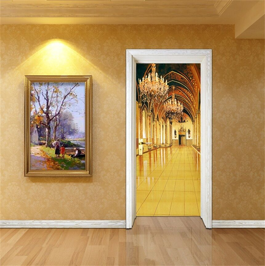 3D gold Korridor Tür Mauer Wandgemälde Foto Wandaufkleber AJ WALL DE Lemon