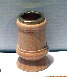 Classic-Candle-Cup-or-Toothpick-Holder-2-1-4-034-Wood-Craft-Lot-w-Brass-Protector