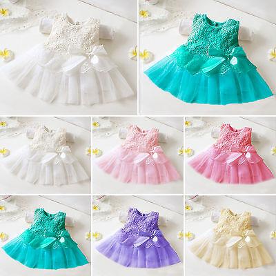 Baby Girls Kids Vintage Lace Mini Dress Party Wedding Flower Girl Princess Dress