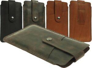 Hand-SEWN-echte-Leder-Tasche-Case-Huelle-mit-Guertelschlaufe-fuer-grosse-Handys