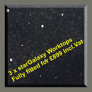 Star Galaxy Quartz / Granite Worktop 3x lengths £899 fully fitted