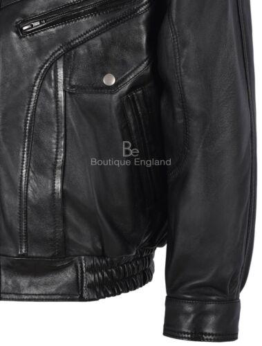 Men/'s Vintage Veste en cuir noir classique Rough Style Motard Véritable Cuir D/'agneau 8553