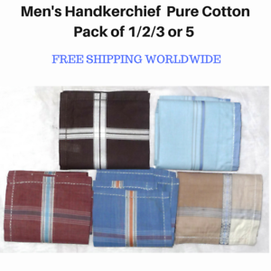 Men-039-s-Handkerchief-Hanky-Pure-Cotton-Assorted-Colours-Pack-of-1-2-3-or-5-Square