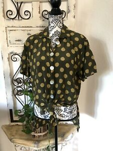 Escada-Vintage-Silk-Olive-And-Light-Green-Polka-Dot-Button-Up-Blouse-Size-Medium