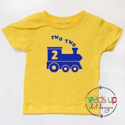 2nd Birthday Train Shirt Boy Toddler Two Two Train tshirt  2 Bday Tee Trendy