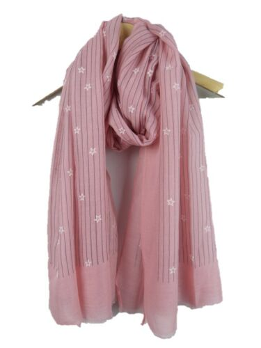 EMBOSSED  STARS  PRINT SOFT SCARVES IN 4 COLOURS SOFT ALL SEASON SCARF