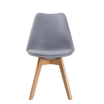 LPD Louvre Contemporary Plastic /& Beech Cushioned Dining Chairs Set Of 2 Grey
