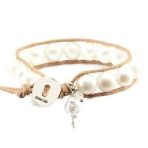 faf8094cb317 Chan Luu White Pearl Charm Single Wrap Bracelet on Beige Leather | eBay