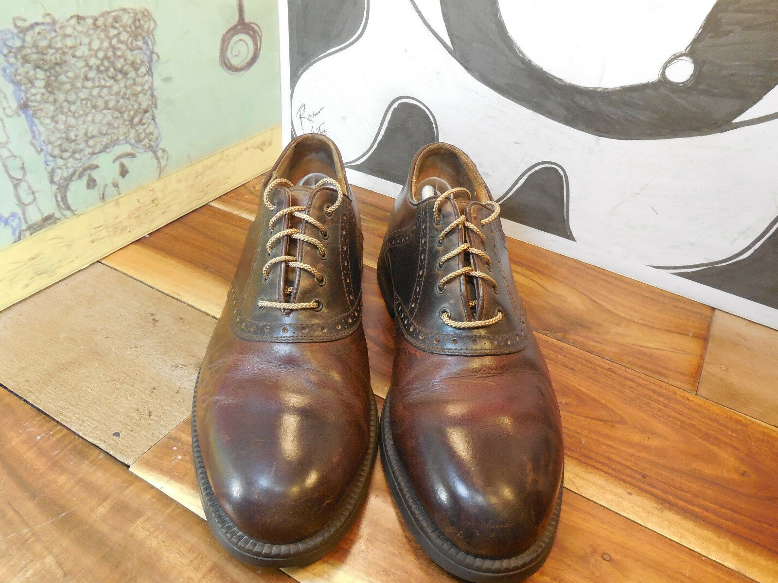 Johnston Men's & Murphy Brown Leather Saddle Oxfords Men's Johnston 10M Made in Italy c149f7