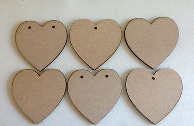 50 x Hearts - 10cms - Wooden MDF Bunting - Blank Craft Shapes Decoupage Tags