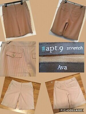 Apt New 9 Ladies Shorts Sz 10 Beige 4 Pockets 65% Polyester/33% Rayon/spandex Finely Processed