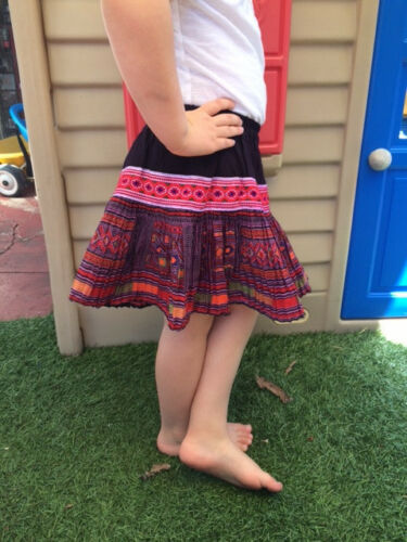 Fair Trade Kids Knee Length Hmong Ethnic Hill Tribe pleat skirt boho hand made