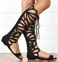 Black Open Toe Lace Up Cut Out Gladiator Flat Heel Knee High Boot Sandal Boot