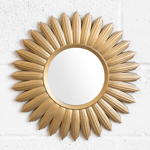 Gold Sunburst 40cm Frame Round Small Wall Mirror Bathroom Living Room Hallway Ebay