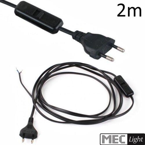 2m Kabel mit Schalter und Strom-Stecker für Euro Steckdosen in schwarz 1,48€//m