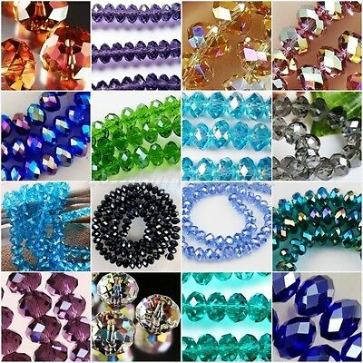 Wholesale Lots Clear Crystal Glass Faceted Rondelle Beads 10mm