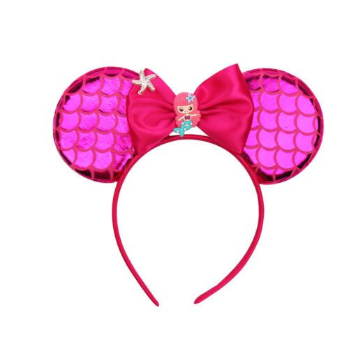 Cartoon Mouse Ears Hairband for Girl Cute Mermaid Bow Satin Headbands Hair Hoop
