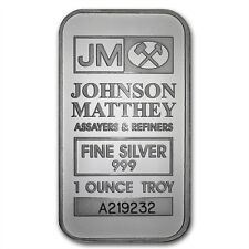 1 oz 999 Silberbarren Silber Silver Johnson Matthey mit Seriennummer ! NEU Selte