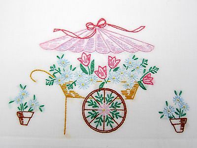 Pretty Vintage Embroidered Flower Cart Pillowcase
