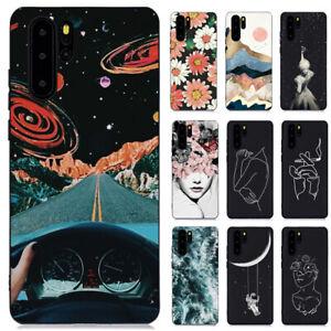 Pour Huawei P30 P Smart 2019 P9 Lite Slim Silicone Souple peint TPU Case Cover