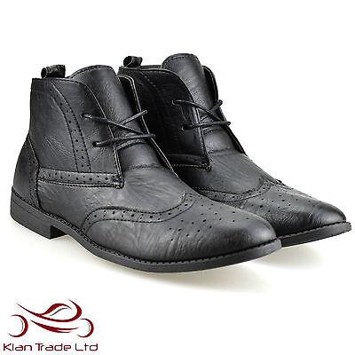 NEU Herren Schwarz Brogue Stiefelletten Schuhe lässig elegant Works formelle UK