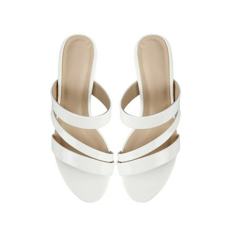 Ladies Fashion Pull On Elegant Leather Slippers Mid Heel Open Toe Sandals Vogue