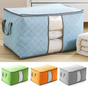 Clothes-Quilt-Blanket-Storage-Bags-Organizer-Box-Zipper-Charcoal-Bamboo-Foldable