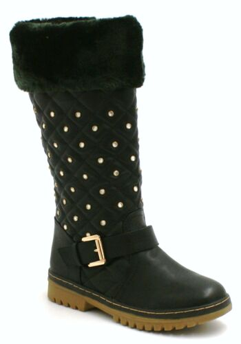 WOMENS LADIES FLAT MID CALF WINTER SNOW FUR LINED KNEE BOOTS GRIP SOLE SIZE 3-8