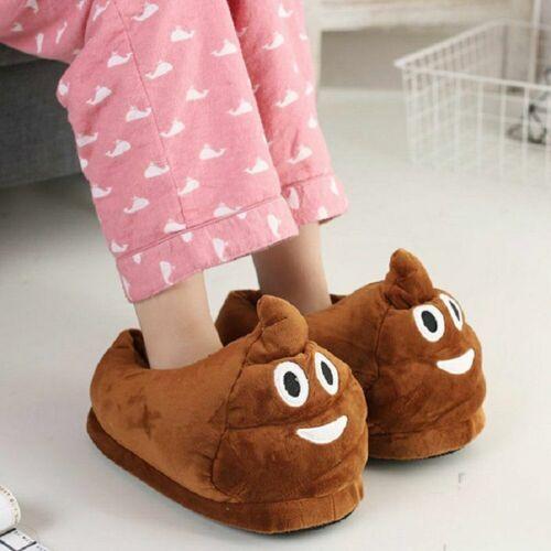 Emoji Poop Poo Slippers Boys Girl Women Brown Novelty Christmas Funny Xmas Gift