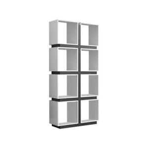 Monarch Specialties White Grey Hollow Core Bookcase I 7076