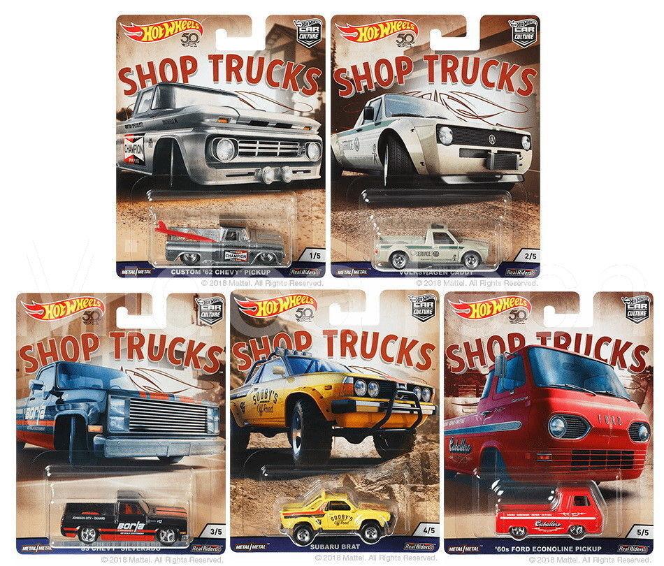 Nuevo Hot Wheels 1 64 cultura de coche tienda camiones 50th Aniversario Conjunto de 5 FPY86-956D
