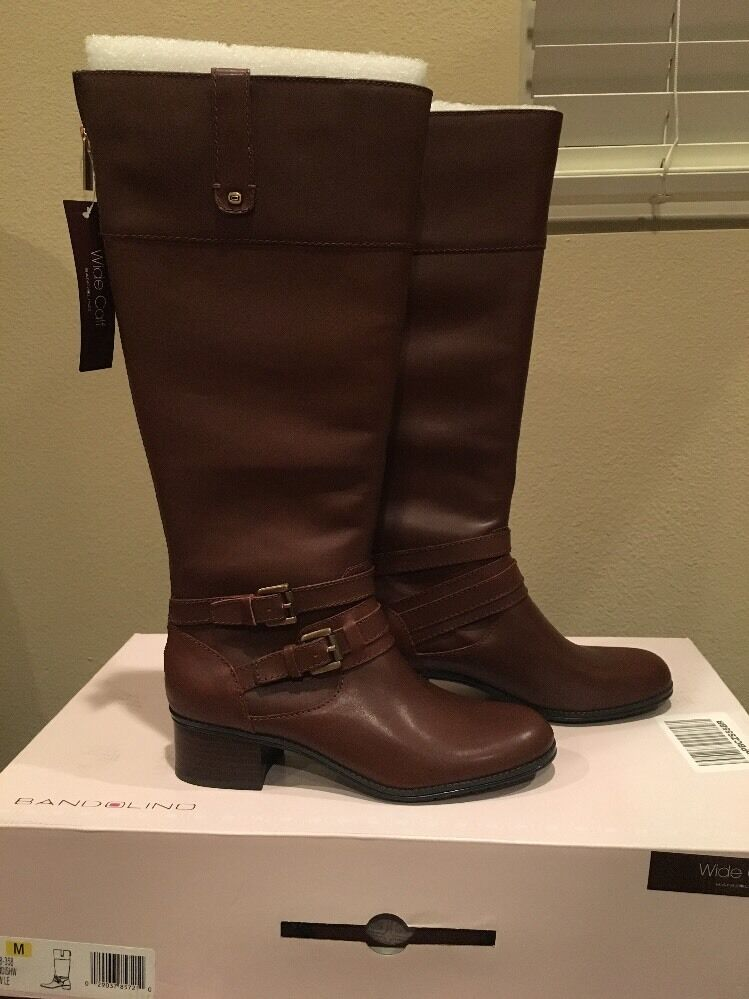 Bandolino Brown Leather Boots Size 6 1 2M Style-Bdcavendishw  Wide-Calf  NWB