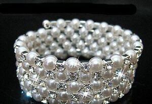 Row Bridal Bracelets Pearl Bangles