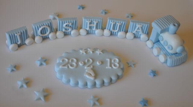 EDIBLE TRAIN NAME BLOCK CHRISTENING CAKE TOPPER DECORATION DATE PLAQUE 20 STARS
