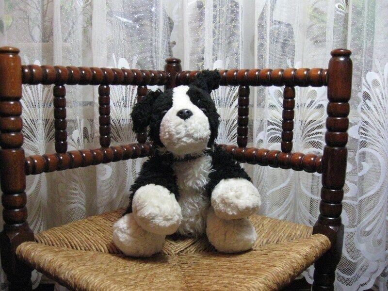 Keelleksakes UK svart & vit hund Plush Druwsy Eyes 26 CM